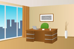 Office room beige interior table chair window illustration. Vector Stock Photo