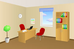 Office room beige table chair cabinet window illustration. Vector Stock Photos