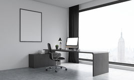 Office room with big window and poster on wall Royalty Free Stock Photo