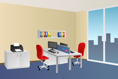 Office room blue beige interior white table red chair window illustration. Vector Stock Image