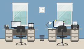Office room in a blue color Royalty Free Stock Photos