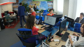 Office Room European People Work at Workplaces