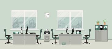 Office room in a gray color. There are tables, green chairs, case for documents, printer and other objects in the picture. Vector flat illustration Royalty Free Stock Images