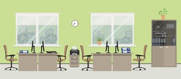 Office room in a green color Royalty Free Stock Photos