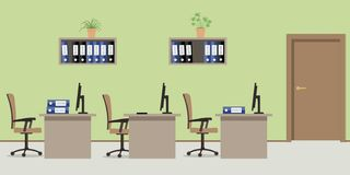 Office room in a green color. There are tables, chairs, computers, folders and other objects in the picture. Vector flat illustration Stock Images