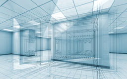 Office room interior background with wire-frame lines. Abstract blue office room interior background with wire-frame lines, 3d illustration royalty free illustration