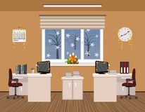 Office room interior christmas design with serpentine including two work spaces. Stock Photo