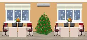 Office room interior in christmas design with two work spaces at evening before xmas. Holiday eve in company office. Flat style vector illustration Royalty Free Stock Photos
