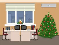 Office room interior including christmas design in two work spaces. Xmas holidays in company office. Stock Photography