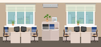 Office room interior including four work spaces with cityscape outside window. Stock Photo