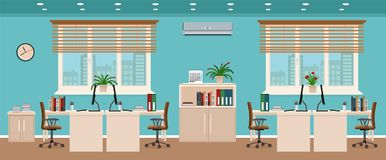 Office room interior including four workspaces with cityscape outside window. Workplace organization in business office. Flat style vector illustration Royalty Free Stock Image