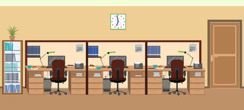 Office room interior including three isolated work spaces with furniture. Royalty Free Stock Images