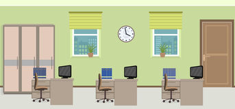Office room interior including three work spaces with furniture. Stock Photos