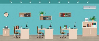 Office room interior including three workspaces with cityscape outside window. Workplace organization. Office room interior including three workspaces with Stock Photos