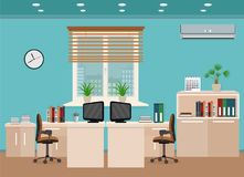 Office room interior including two work spaces with cityscape outside window. Royalty Free Stock Images