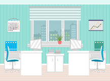 Office room interior including two work spaces with furniture, cityscape outside window. Flat style vector illustration Royalty Free Stock Image