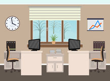 Office room interior including two work spaces with furniture, winter landscape outside window. Royalty Free Stock Images