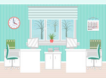 Office room interior including two work spaces with winter landscape outside window. Flat style vector illustration Royalty Free Stock Photography