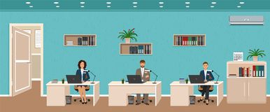 Office room interior with three workplaces, working employee and door outside. Workers sitting at desks. stock illustration