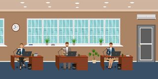 Office room interior with three workplaces and working. Employee. Workers sitting at desks and work on the computers. Flat style vector illustration Royalty Free Stock Photos