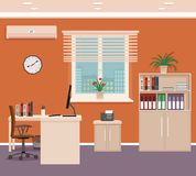 Office room interior with workspace and cityscape outside window. Workplace organization in business office. Flat style vector illustration Stock Image