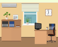 Office room interior. Workspace design with clock, air conditioning and cityscape outside window. Flat style vector illustration Stock Photos