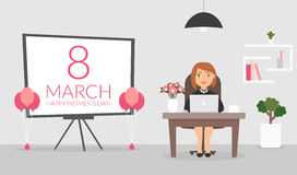 Office room on March, 8. Happy Women`s Day. Businesswoman working at a computer. Cute character. Flat design vector Stock Images