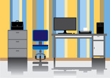 Office room with reflex on the floor Stock Photo