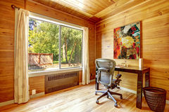Office room with solid wood planks Stock Images