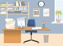 Office room. Vector interior for work with table vector illustration