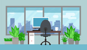 Office Room With Green Plants Royalty Free Stock Photos
