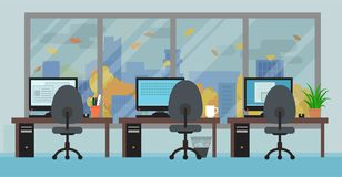 Office room with workplaces big window and autumn landscape Stock Photo