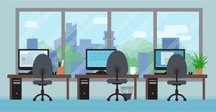 Office room with workplaces big window and landscape. Office room interior with workplaces big window and landscape Stock Images