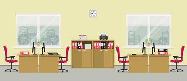 Office room in a yellow color. There are tables, red chairs, cases for documents, printer and other objects in the picture. Vector flat illustration Royalty Free Stock Photo