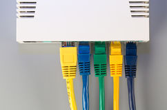 Office router connected to five multi-colored patch cord with connectors RJ45 Royalty Free Stock Photography