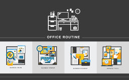 Office routine concept in flat design Stock Images