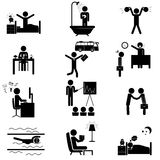Office routine life icons. Office daily routine life. Vector icons set  on white Stock Photo