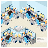Office routine view in flat design. Office routine view concept in flat design stock illustration