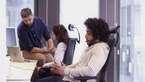 Office Scene in call centre stock video