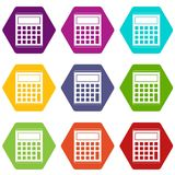 Office, school electronic calculator icon set color hexahedron. Office, school electronic calculator icon set many color hexahedron isolated on white vector Royalty Free Stock Photography