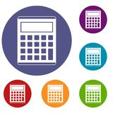 Office, school electronic calculator icons set Royalty Free Stock Images