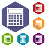 Office, school electronic calculator icons set Royalty Free Stock Photos