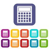 Office, school electronic calculator icons set Stock Photos