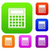 Office, school electronic calculator set color collection Royalty Free Stock Images