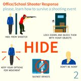 Office and School shooter response tips illustration set. Office and School shooter response short and helpfull advices vector illustration set. Will be used for Royalty Free Stock Images