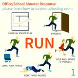 Office and School shooter response tips illustration set. Office and School shooter response short and helpfull advices vector illustration set. Will be used for Stock Photos