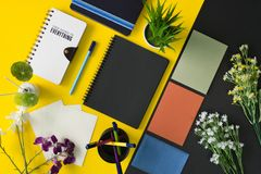 Office and school stationery and office supplies. Multiple stationery items and office supplies. Top view flat lay Stock Photo