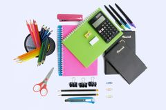 Office and School Stationery Supplies. Multiple stationery items for office and school from top view Royalty Free Stock Images