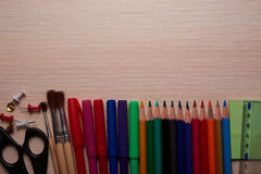 Office and school stationery on the table Stock Images
