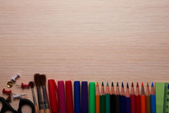 Office and school stationery on the table Stock Photography